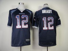 New England Patriots #12 Brady Blue Stitched Elite Drift Fashion NFL Nike Jerseys