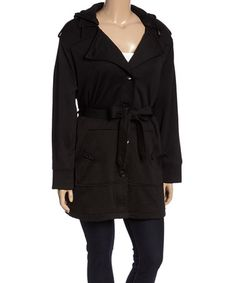 Look what I found on #zulily! Black Hooded Fleece Coat - Plus by Yoki #zulilyfinds