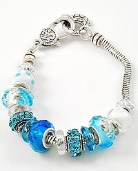 Checkout this amazing product New Antique Silver Tone Ice Blue Glass Bead Bracelet at Shopintoit