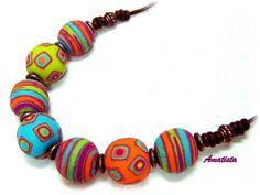 Collar cuentas multicolor texturadas by el rincón de amatista, via Flickr