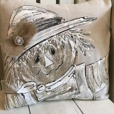 Farmhouse Scarecrow Pillow Fall Pillows Hand-painted | Etsy
