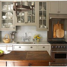 Eclectic Kitchen Design, Pictures, Remodel, Decor and Ideas - page 3 Grey Kitchen Cabinets, Kitchen Paint, New Kitchen, Kitchen Decor, Glass Cabinets, Upper Cabinets, Colored Cabinets, White Cabinets, Taupe Kitchen