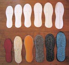 Of Dreams and Seams: Shoe Shortage! Making Soles for House Shoes all kinds of options for diy shoes from common household materials Make Your Own Shoes, How To Make Shoes, Crochet Crafts, Crochet Projects, Knit Crochet, Gestrickte Booties, Shoe Pattern, Crochet Slippers, Knitted Slippers