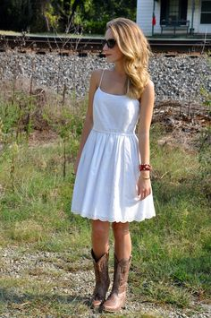 White sundress and cowboy boots(: