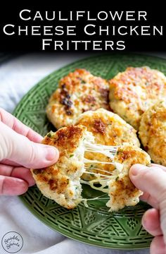 will love these Cauliflower Cheese Chicken Fritters. These are perfect for a mid-week family meal. Light, crispy, and packed with cauliflower, the whole family demolishes these fritters. Recipe from Sprinkles and Sprouts Baby Food Recipes, Low Carb Recipes, Chicken Recipes, Cooking Recipes, Healthy Recipes, Grill Recipes, Snacks Recipes, Curry Recipes, Seafood Recipes