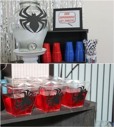 What little guy wouldn't want a fun Spiderman Birthday Party? Check out all of the fun details in this Spiderman party of the century! Spider Man Party, Fête Spider Man, Spider Man Birthday, 21st Party Themes, Birthday Party Drinks, Superhero Birthday Party, Birthday Ideas, 5th Birthday, Spiderman Theme Party