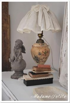 Bedroom Lampshade Idea for DIY Whitewashed Cottage chippy shabby chic French country rustic swedish decor idea