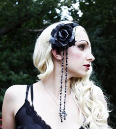 Gothic Headband Head Piece halloween black rose by MorbidObsession, $48.00