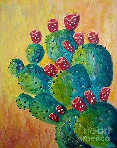 This is my original painting of a Prickly Pear Cactus. Prints may be purchased at suzanne-theis.fineartamerica.com. Thank you for viewing my paintings!