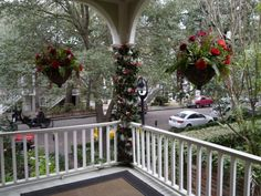 Zeigler House Inn porch, overlooking Jones Street, is dressed for a #Christmas #wedding #elopement. Romantic Inns of Savannah member | Photo (c) Zeigler House Inn