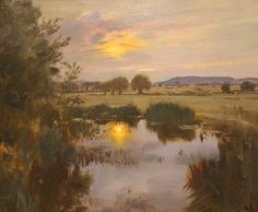 Langham Pool on the Stour | From a unique collection of landscape paintings at https://www.1stdibs.com/art/paintings/landscape-paintings/