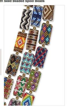 Simple peyote cylindrical beaded beads done with delicas. Seed Bead Patterns, Jewelry Patterns, Bracelet Patterns, Beading Patterns, Peyote Patterns, Beaded Beads, Beads And Wire, Beaded Earrings, Beaded Bracelets