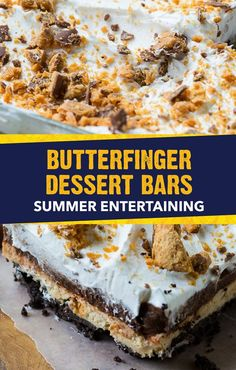 Treat yourself to the crispety, crunchety, peanut-buttery taste of this no-bake Butterfinger® Chocolate and Peanut Butter Lush. This easy dessert recipe can feed a crowd, making it a great option for birthday parties or summer cookouts. Simply combine layers of pudding, cream cheese, whipped topping, and crushed cookies.