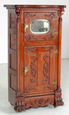 Rare Antique New Grand Griffin Ice Box  (probably porcelain inside the doors - upper class version for sure)
