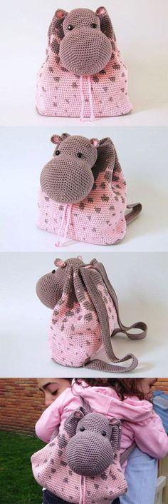 """Mochila de ganchillo [   """"Hippo Backpack Crochet Pattern Sponsored By: Grandma"""