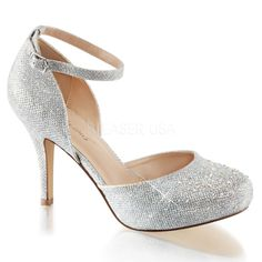 "3 1/2"" Heel, 1/2"" Hidden Platform Ankle Strap d'Orsay Pump with Silver Multi Rhinestone Embellishment at Toe"