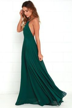 The Mythical Kind of Love Dark Green Maxi Dress is simply irresistible ...