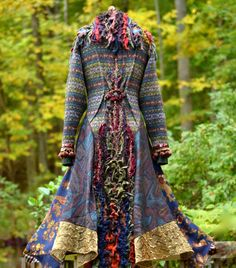 This coat is already reserved.  Sweater COAT patchwork textured boho Eco fashion fantasy outwear is handcrafted from repurposed felted wool