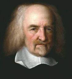 Thomas Hobbes leefde van 1588 tot 1679. Volgens Hobbes is de mens in de natuurtoestand alleen maar gericht op overleven en dat maakt mensen concurrenten. Zijn uitspraak is ook: 'homo homini lupus est' en dat betekent: De mens is voor zijn medemens een wolf. Het uitsterven van de mensheid kon volgens hem alleen voorkomen als een absoluut vorst aan de macht was. Dat was de interpretatie van Hobbes.