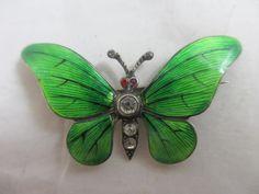 Vintage Art Deco sterling silver guilloche enamel & paste butterfly brooch pin