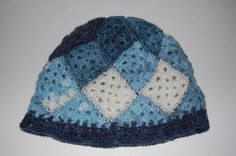 Crocheted Patchwork Beanie in Blues by CrochetingKeri on Etsy, $12.00