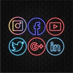 Social Media Logos Neon Style With Black Brick Wall Background Social Media Art, Social Media Buttons, Graphic Design Brochure, Graphic Design Posters, Logo Ig, Neon Design, Design Design, Black Brick Wall, Youtube Instagram