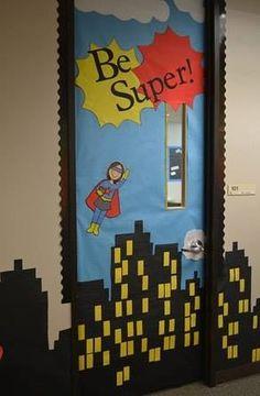Super hero theme classroom door!