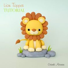 Fondant Lion Cake Topper by TheSweetCastleBakery on Etsy Fondant Figures, Fondant Cake Toppers, Polymer Clay Figures, Polymer Clay Animals, Fondant Baby, Cake Topper Tutorial, Fondant Tutorial, Fondant Animals Tutorial, Sah Biscuit