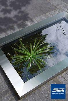 GFK Wasserbecken mit Edelstahlumrandung 120 x 80 x 45 cm 365 Liter - Slink | Ideen mit Wasser