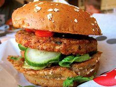 "veggie burger prepared ""greek style"""