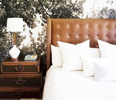 The Best Calming Bedroom Color Schemes//leather bed, mural wallpaper