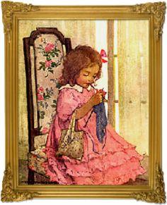Vintage illustration of a girl knitting.