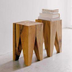 Wooden Stool Designs, Wooden Stools, Wood Benches, Workshop Stool, Easy Small Wood Projects, Pop Art Movement, Steel Columns, Alvar Aalto, Rockefeller Center