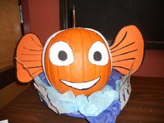 This post is a re-post from last Halloween. I entered this Pumpkin into a carving contest. Last Halloween, Halloween Crafts, Halloween Decorations, Halloween Ideas, Nemo Pumpkin, Glue Crafts, Pumpkin Decorating, Decorating Ideas, Fall Pumpkins