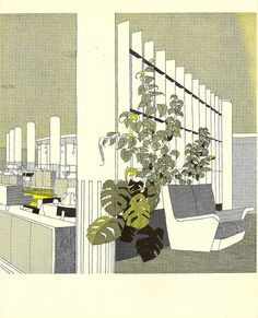 """The Restaurant illustrated by Gordon Cullen - from """"London Airport, Official Guide, 1956"""" 