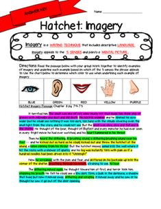 Hatchet Imagery Activities. Includes 7 different worksheets that each include a guided note guide about imagery on the top. Below is a chart dictating a color for each of the 5 senses. Students will read 1 of 7 passages from Hatchet that contain imagery, and highlight based on which sense the writing appeals to. Last, students have a blank frame where they will draw the picture they had in their head following the passage. They need to include specific details and label them with text…