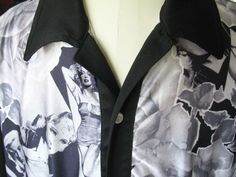 Men's Pin-up Shirt Sz L STEADY Roses Starlets Marilyn Monroe Mae West B&W #Steady #ButtonFront