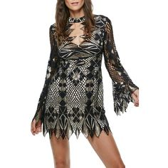 Women's Free People Deco Crochet Minidress (10,085 INR) ❤ liked on Polyvore featuring dresses, black combo, embellished dress, short bohemian dresses, boho style dresses, patchwork dresses and bohemian dresses