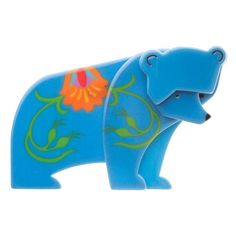 Erstwilder Boris the Benevolent Bear (Blue Resin Brooch) in Original Box