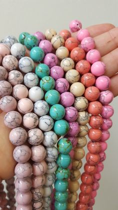 These magnesite beads come in a whole range of gorgeous colors! These magnesite beads come in a whole range of gorgeous colors! Cute Jewelry, Jewelry Crafts, Beaded Jewelry, Beaded Bracelets, Silver Jewelry, Diy Bracelet, Necklaces, Homemade Jewelry, Diy Jewelry Making
