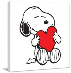 Description: Hugging a big heart, Snoopy celebrates love. Printed in black and white with a bold red heart, this Peanuts canvas art is ideal for Valentine's Day or everyday for a Peanuts fan. - Peanut