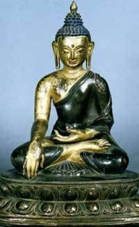 16th century, Mongolia, historical buddha Shakyamuni, copper alloy and pigment, at the Zanabazar Museum.