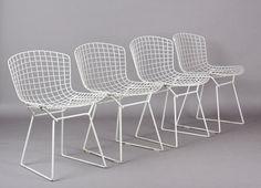 Mid Century Vintage Knoll Harry Bertoia Steel White Mesh sculptural dining chair Set of 4 on Etsy, $1,495.00