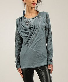 Another great find on #zulily! Gray Blue Floral Beaded Asymmetrical Drape Top #zulilyfinds