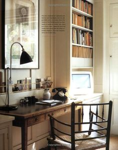 Love the deep paneling on the wall with the thin brass rods accross it to serve as storage for the desk - Old House New Home: Ros Byam Shaw Home Office Space, Home Office Design, Home Office Furniture, Home Office Decor, House Design, Home Decor, Office Ideas, Home Office Organization, Interior Inspiration