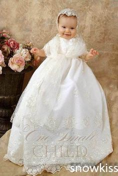 100.00$  Buy here - http://alipow.worldwells.pw/go.php?t=32542815040 - 2016 Newborn Lace Baby Girl White/Ivory Baptism Robe First Communion Dresses Christening Gown Baptism Dress 100.00$