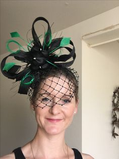 Green and Black Fascinator