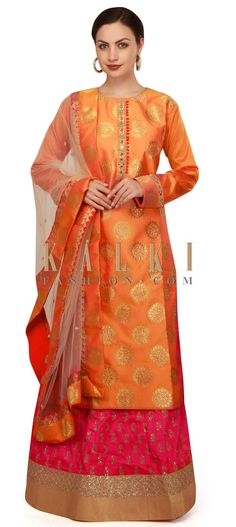 Orange top with rani pink embroidered lehenga only on Kalki Pink Lehenga, Party Outfits, Salwar Kameez, Indian Outfits, Pakistani, Casual Wear, Designer Dresses, Dress Skirt, Sequins