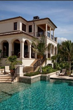 Hopefully move to Miami after already working for some plastic surgeons and hopefully have enough money to buy a nice villa in South Beach pool backyard Architecture Mediterranean Homes, Mediterranean Architecture, Spanish Architecture, Colonial Architecture, Classic Architecture, Spanish Style, Spanish Revival, House Goals, My Dream Home