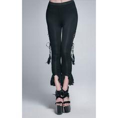 Leggings Victorien de la marque Devil Fashion orné de laçages et de plumes sur les côté ainsi que de dentelle pour un style Chic et raffiné! #Vetement #Gothique #Romantique